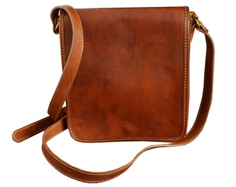 Small Leather Mens Messenger Bag - On The Road