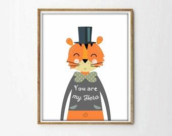 poster kids print, tiger print, poster tiger, animal nursery print, wall art print, nursery decor, nursery wall art,  4 SIZES INCLUDED