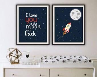 Nursery space printable, printable nursery, 4 SIZES INCLUDED, nursery space, nursery rocket print, space print, outer space print