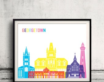 Georgetown skyline pop - Fine Art Print Glicee Poster Gift Illustration Pop Art Colorful Landmarks - SKU 2371