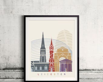 Leicester skyline poster - Fine Art Print Landmarks skyline Poster Gift Illustration Artistic Colorful Landmarks - SKU 2486