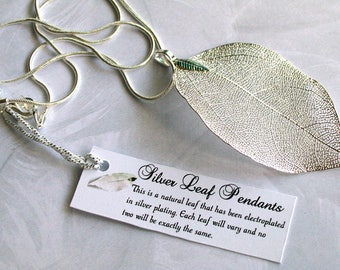 Silver Leaf Necklace ~ Real Leaf ~ Leaf Necklace ~ with Jute Gift Bag ~ Silver Leaf Pendant ~ Bridesmaid Gift ~ Wedding Necklace