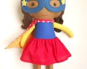 Superhero girl doll for superhero birthday, african american doll as gift for kids toddlers and preeschoolers or for baby girls