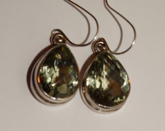 Sterling Silver Prasiolite Stone Earrings.