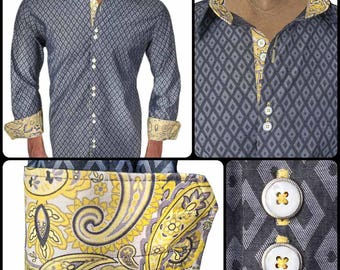 Gray Diamond with Yellow Paisley Men's Designer Dress Shirt - Made To Order in USA