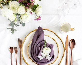 Violet color Linen Napkins set of 6 - Dinner napkins