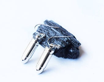 Silver bullet earrings