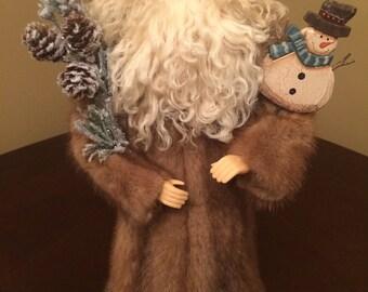 "16"" Mink Santa, Unique Christmas Decoration, Handmade Santa Doll, Christmas Ornament, Father Christmas, Vintage Mink, Snowman, CurlyLamb"