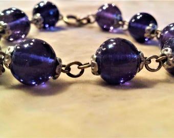 Vintage Purple Beaded Bracelet