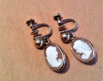 Gold Filled Shell Cameo Lady Earrings
