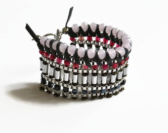 Pink statement bracelet silver stone bracelet for woman silver bracelet with stones unique bracelet for women pink statement bracelet