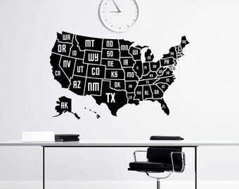 Usa Map Decal Etsy - Sticker us map