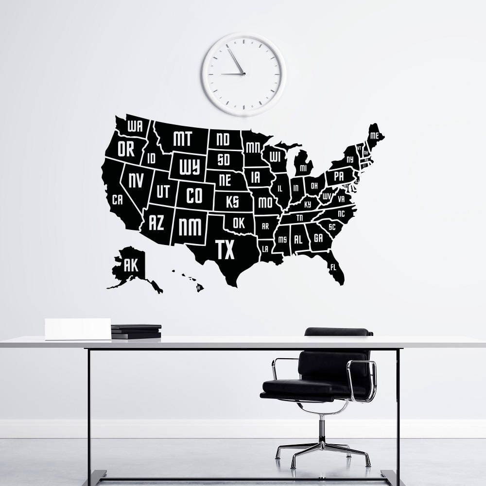 High quality wall decals vinyl stickers by fabwalldecals on etsy wall decal usa america map map of the united states geography removable vinyl decal sticker amipublicfo Choice Image