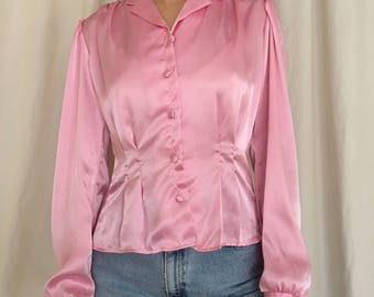 90s Bubblegum Pink Satin Blouse with Cinched Waist