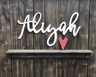 Baby name sign etsy wooden letters nursery decor baby name signs custom name gift name plaque negle Images