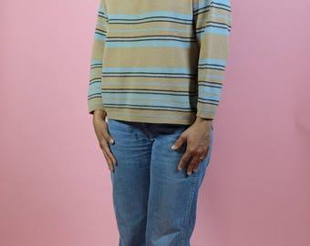 Vintage Pure Virgin Wool Striped Sweater Tan Blue M