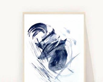 Navy Blue Abstract Print, Abstract Wall Art, Abstract Painting, Abstract Art Print, Printable Art, Instant Download, Wall Decor