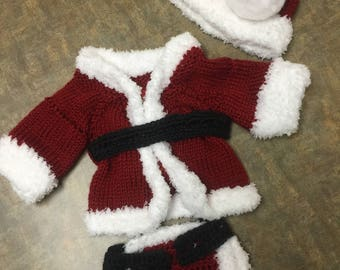 Crochet Santa Suit for Newborn, Includes Hat, Jacket, and Diaper Cover