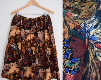 Vintage 70s Novelty Print Skirt // Native American, Boho Chic, 1970s, Country Western, Women Size Large, Extra Large