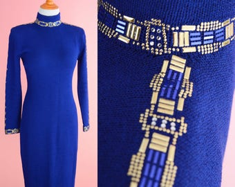 Vintage St John 80s 90s Sweaterdress // Purple, Gold, Designer Vintage, Prom Dress, Women Size Small