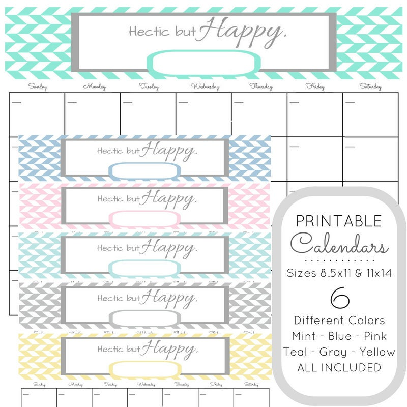 Happy With Printables Calendar : Printable bundle wall calendars hectic but happy desk