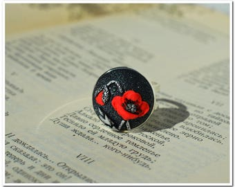 Red poppies ring big round ring black ring  gift ring for women ring birthday gift for her metallic ring poppies jewelry for girlfriend gift