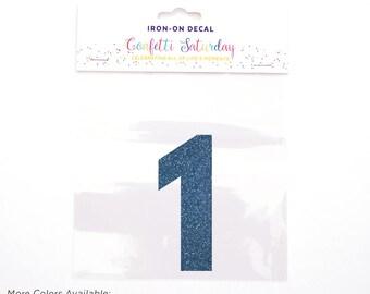 Iron-on Transfer 1 - One - 1st Birthday Shirt - Iron On Decal - 10 - Confetti Saturday - Blue - GLITTER