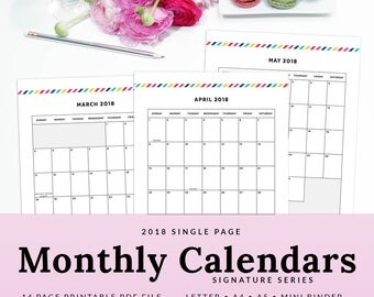 Monthly Calendar Printable Planner Insert 2018 Single Page Spread Signature Stripe, Instant Download