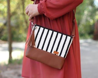 Striped Woman Purse Girlfriend gift Shoulder Bag Womens gift Crossbody bag Women bags Crossbody purse Faux Leather purse