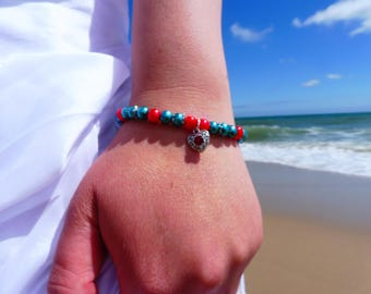 Ariel Little Mermaid Inspired Stretch bracelet. Red & Turquoise stretch bracelet with red heart charm. Disney bracelet. Little mermaid