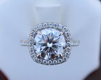 4.00 Carat (10mm) Round Forever One Moissanite & Diamond Double Edge Halo Ring, Diamond Bridge, Bezel Diamond, Custom Rings for Women
