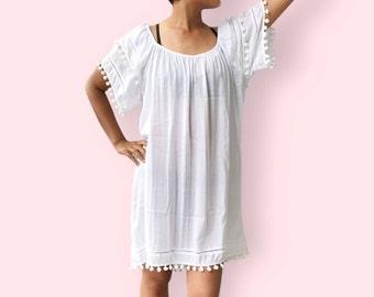 White pompom beach dress, BW13 white, beach dress,  holiday, maternity wear, lounge wear, poolside party wear, party dress, fun dress
