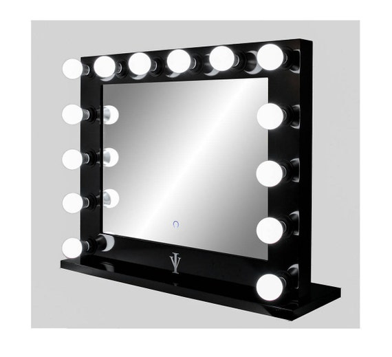dimmable grand hollywood lighted vanity mirror w dual outlets. Black Bedroom Furniture Sets. Home Design Ideas