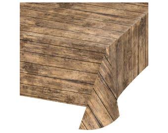 Wood Grain Tablecloth - Lumberjack Party - Rustic Wedding - Luau Party - Wild One - First Birthday - Rustic Decor - Lumberjack Baby Shower