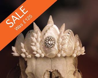 White, Iridescent Mermaid Shell Crown / Tiara with Vintage Jewel