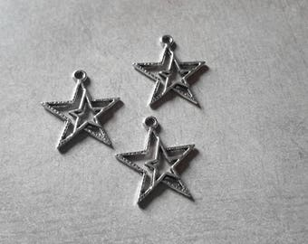 Star charms, pendant double star, silver - 23 x 21 mm