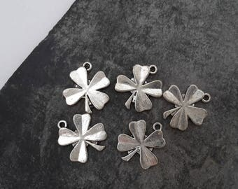 Charm clover 4 leaf, leaf pendants, lucky charm, silver, 16 x 15 mm