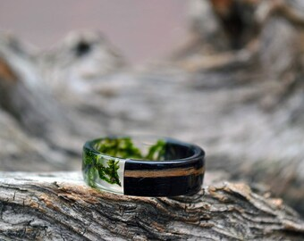 mens resin band set mens wedding bands resin ring set real moss rings green black rings - Eco Friendly Wedding Rings