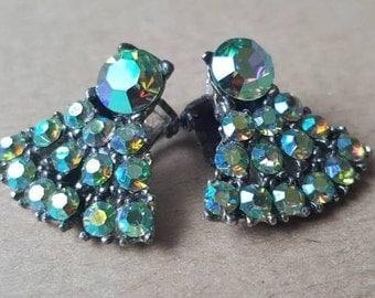 Vintage 1950s Sparkly Aurora Borealis Fan Clip On Earrings