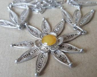 Vintage Silver Filigree Flower Floral Necklace