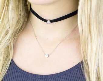 Black Diamond Choker, Black Layered Choker, Black Layer Choker, Black Choker, Double Layer Choker, Black Boho Choker, Choker Necklace