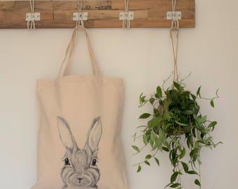 rabbit bag, rabbit lover gift, funky tote bag, hare bag, vegan bag, market bag, tote bag, rabbit lover gift, rabbit library bag