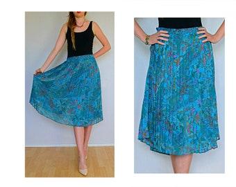 Blue pleated skirt, pleated midi skirt, blue skirt, boho skirt, knee length skirt, women retro midi skirt, elephants