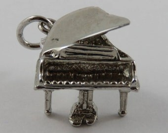 Grand Piano Sterling Silver Vintage Charm For Bracelet