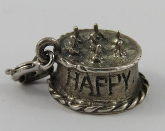 Happy Birthday Cake With Candles Sterling Silver Vintage Charm For Bracelet