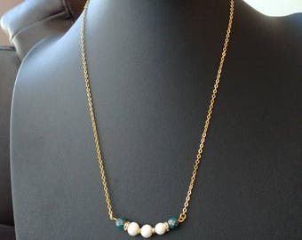 White coral diffuser necklace with turquoise Czech glass faceted beads and gold brass chain, 20 inch