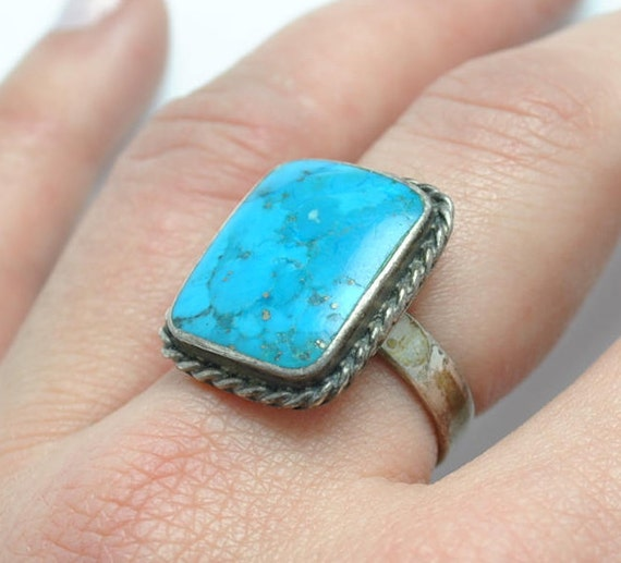 Square shapes turquoise ring sterling silver vintage, vintage rings, native american ring, navajo ring, turquoise jewelry