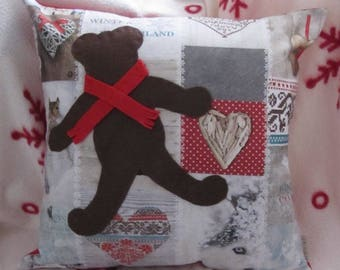 "Christmas Cushion 40x40cm (16""x16"") Pillow Cover, Teddybear, Throw Pillow, Winter Decoration, Scandinavian, shabby, Cottage, Patchwork"