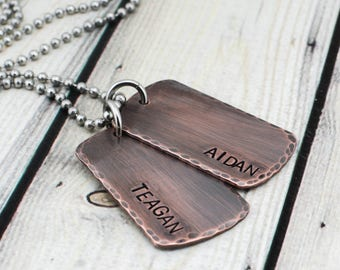 Custom Mens Dog Tag Necklace - Mens Personalized Dog Tag Necklace - Hand Stamped Mens Necklace  - Rustic Mens Necklace - Copper Dog Tags