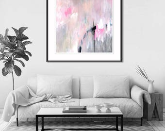 Abstract painting print, pink pastel abstract art print, abstract canvas art print, large abstract print pink, gray, black, white, Giclee